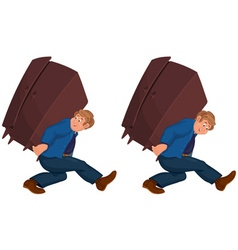 Happy cartoon man walking with heavy furniture vector image vector image