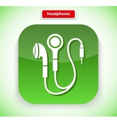 Headphone App Icon Flat Style Design vector image vector image