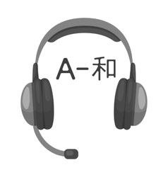 Headphones with translator icon in monochrome vector