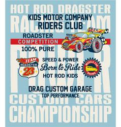 Hot rod kids racing team vector