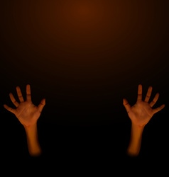 Human hand on dark brown background vector image vector image