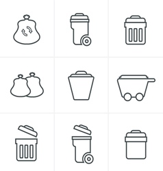 Line icons style garbage icons vector