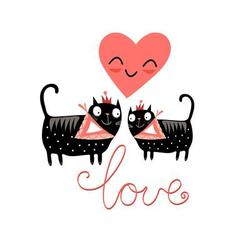 Love cats and heart on a blue background vector