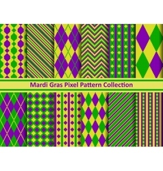 Mardi gras pixel seamless pattern set vector