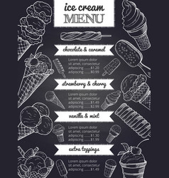 menu of ice cream hand drawing vector image