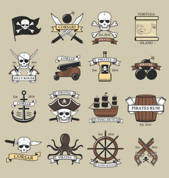 Modern professional pirate logo marine badges vector