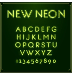Neon font type alphabet glowing in with numbers vector