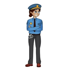 police woman standing pose vector image vector image