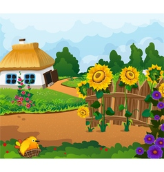 Rural landscape with a small house vector