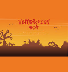 scenery silhouette tree grave for halloween vector image