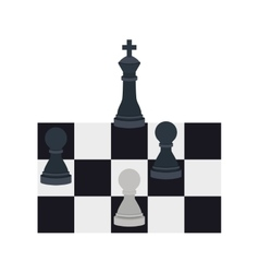 Silhouette with king and pawns chess vector