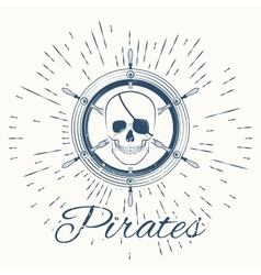 Skull pirate and vintage sun burst frame vector