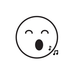 Smiling cartoon face sing positive people emotion vector