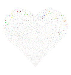 Space stars fireworks heart vector