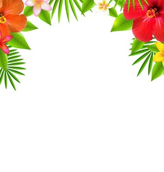 Tropical flowers border vector