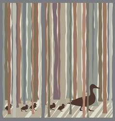 Wood duck family vector