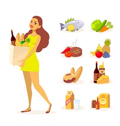Young girl in green dress with paper food vector