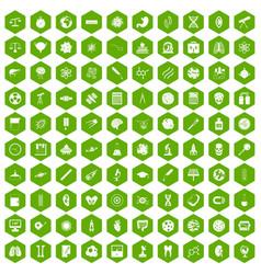 100 science icons hexagon green vector