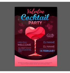 Disco cocktail party poster happy valentines day vector