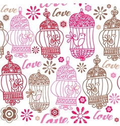 Vintage birds love background vector