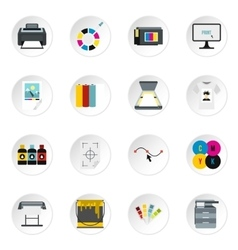 Printing icons set flat style vector