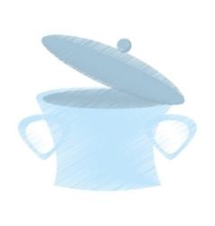 drawing open pot steel soup cooking design vector image
