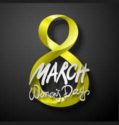Yellow march 8 greeting card international womans vector