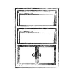 bookcase furniture wooden sketch vector image