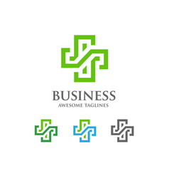 abstract health cross medical logo vector image