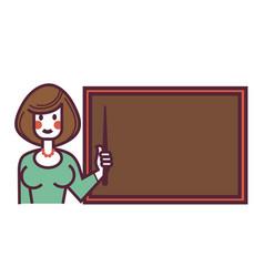 Female teacher with pointer stands near blackboard vector