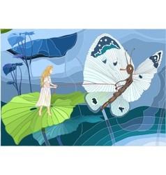 Thumbelina with butterfly vector