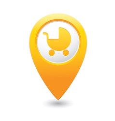 Carriage icon on map pointer yellow vector