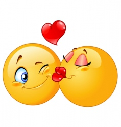 kissing emoticons vector image