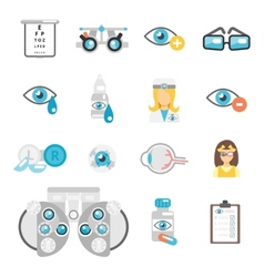 Oculist flat icons vector