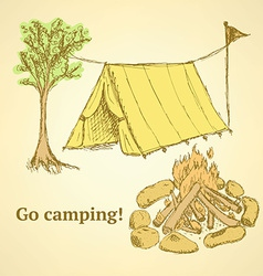 Sketch camping set in vintage style vector