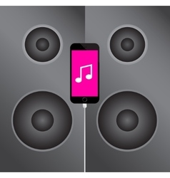 Mobile phone icon on the background music speakers vector