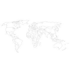World map with smoothed country borders vector