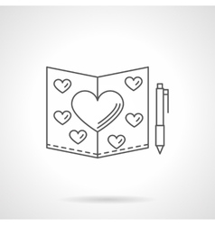 Valentines day card flat line icon vector