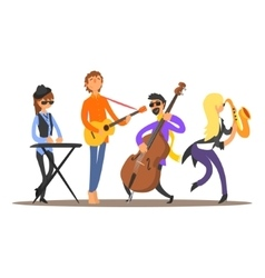 Musicians on the stage vector