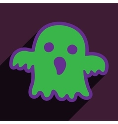 Flat with shadow icon and mobile application ghost vector image