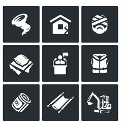 Set of emergency service icons hurricane vector