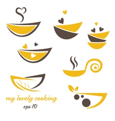 Abstract icon of eco bowl with leaf and heart vector