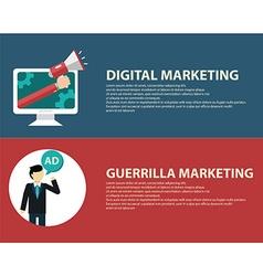 Advertising design concept set media and guerrilla vector