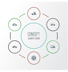 car outline icons set collection of hatchback vector image