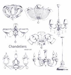 Chandeliers hand drawing set vector