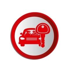 Circular shape car and key vector