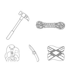 Climber on conquered top coil of rope knife vector