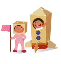 creative girl playing as astronaut and boy in vector image vector image