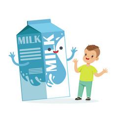 cute happy little boy and funny milk carton box vector image vector image