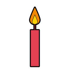 cute red birthday candle cartoon vector image